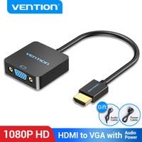 Convenio adaptador de HDMI a VGA convertidor de macho a hembra 1080P VGA a HDMI con 3,5 Jack Cable de Audio para computadora portátil caja de TV HDMI a VGA