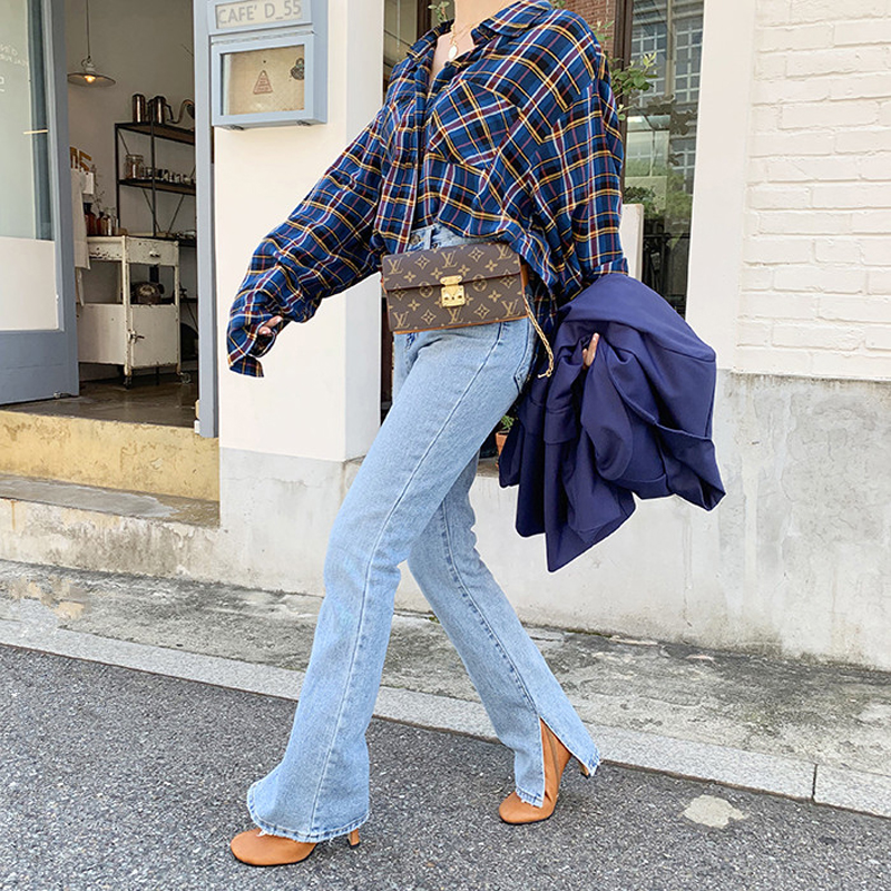 QoerliN 2019 Vintage Jeans Plus Size Women Korean New Autumn Washed Side Slits Straight Pants Dragged Jeans Motor Denim Pants
