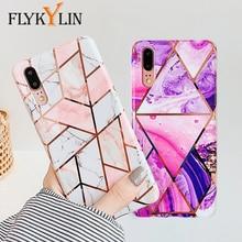 Funda de flores de mármol FLYKYLIN para Samsung Galaxy A40 A50 A70 funda trasera en arte hoja de silicona suave fundas de teléfono de dibujos animados coque Shell