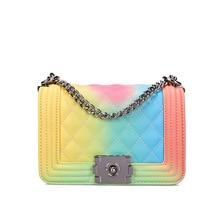 Classical Plaid Chain Handbag Jelly Bag Gradient Flap WomenS Shoulder Bags Luxury Brand Female Purse Tote