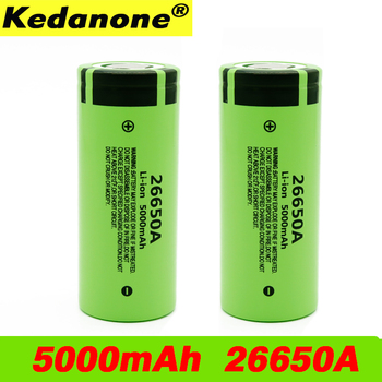 100% Original New Battery For Panasonic 26650A 3.7V 5000mAh High Capacity 26650 Li-ion Rechargeable Batteries image