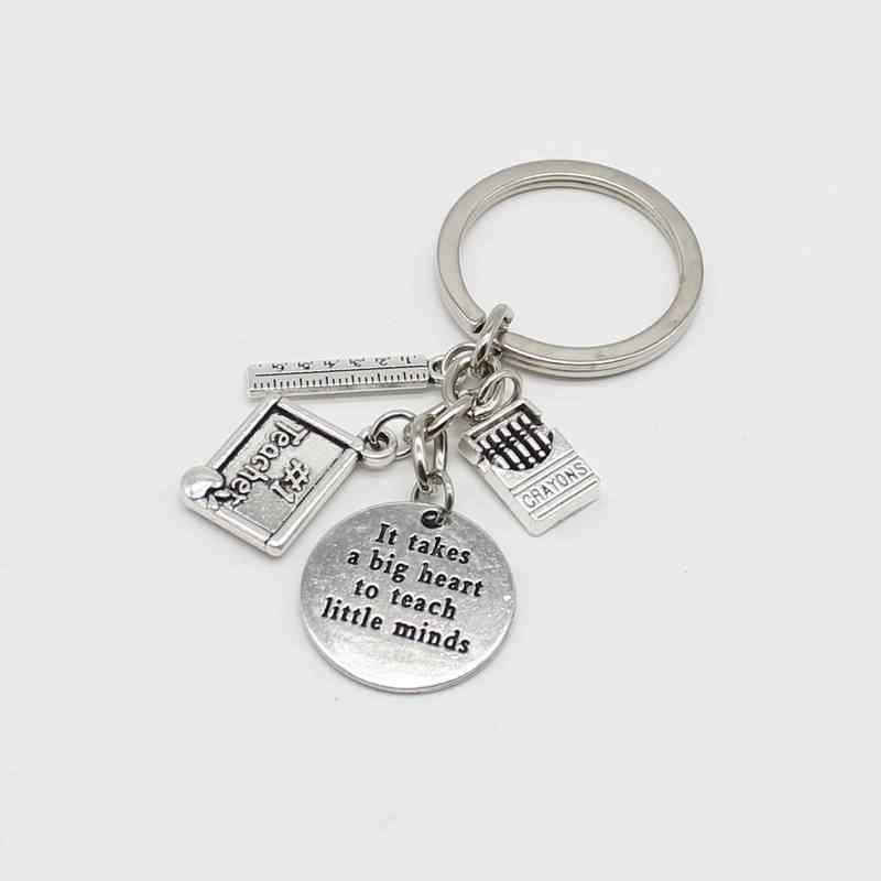 Kişilik antika gümüş anahtarlık aşk elma cetveli ABC kitap anahtarlık öğretmen takı öğretmenin günü hediyesi