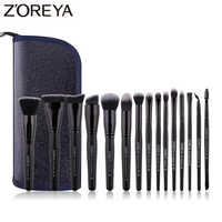 ZOREYA Classic Black Makeup Brushes 7/9/15pcs Comfortable Synthetic Hair Make Up Brush Set Foundation Eye Shadow Cosmetics Tool