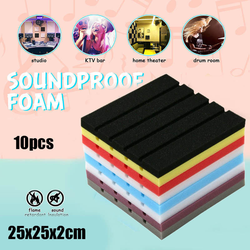 10pcs/lot Soundproofing Foam Sponge Studio Acoustic Sound Treatment Studio Room Absorption Tiles Polyurethane Foam 250x250x20mm