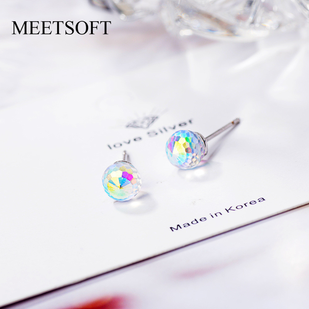 MEETSOFT 925 Sterling Silver Prevent Allergy  Stud Earrings For Women Design Trendy  Small Gradient Crystal Orb  Jewelry Gift