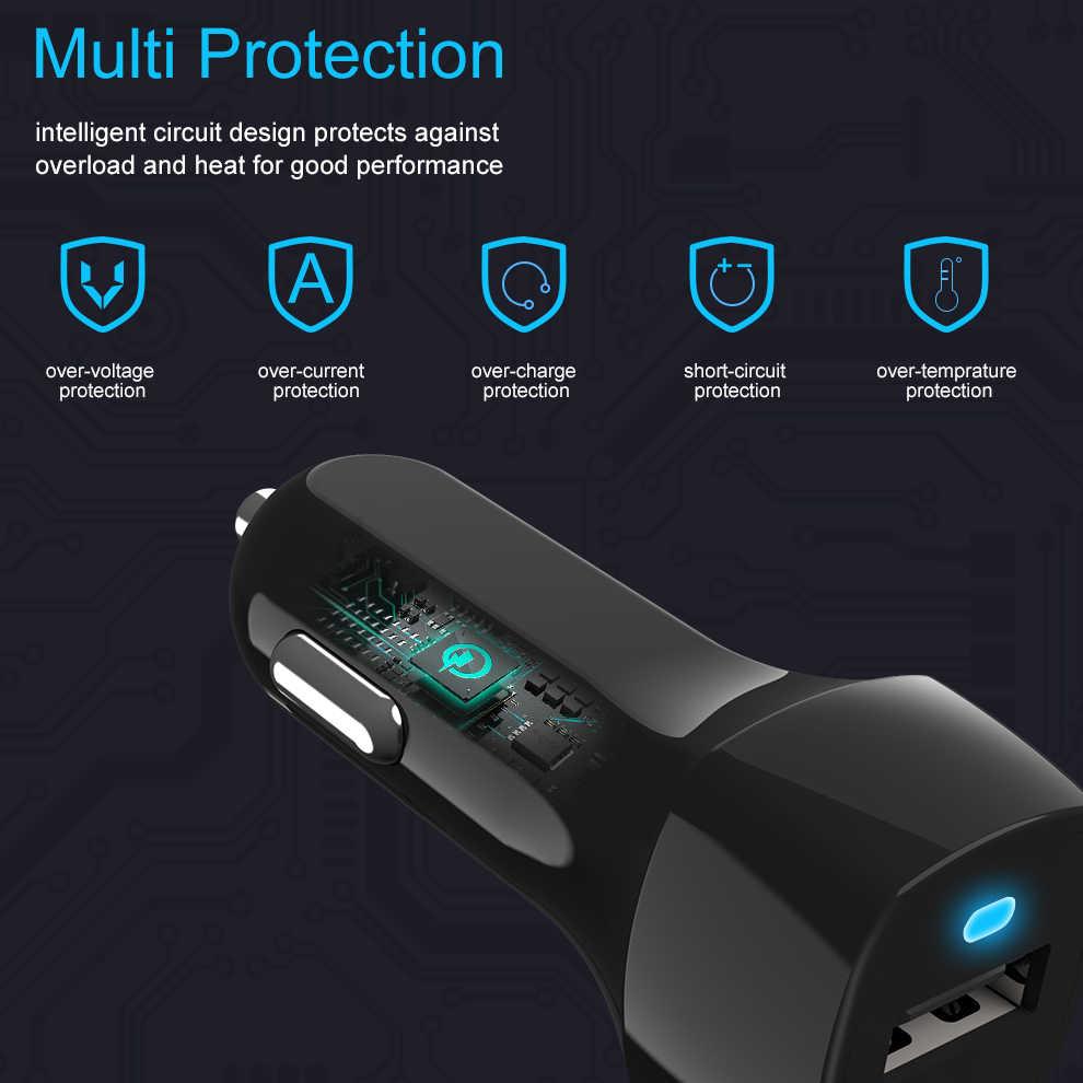 BaySerry شاحن سيارة المزدوج USB التكيف السريع محول مايكرو نوع C كابل بيانات سريعة لسامسونج غالاكسي S10 S9 S8 زائد S10 + نوت 10