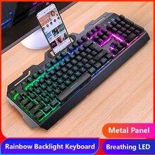 Legal teclado de jogos com fio 104 teclas backlit teclados mouse combo metal gamer teclado russo adesivos para pc desktop
