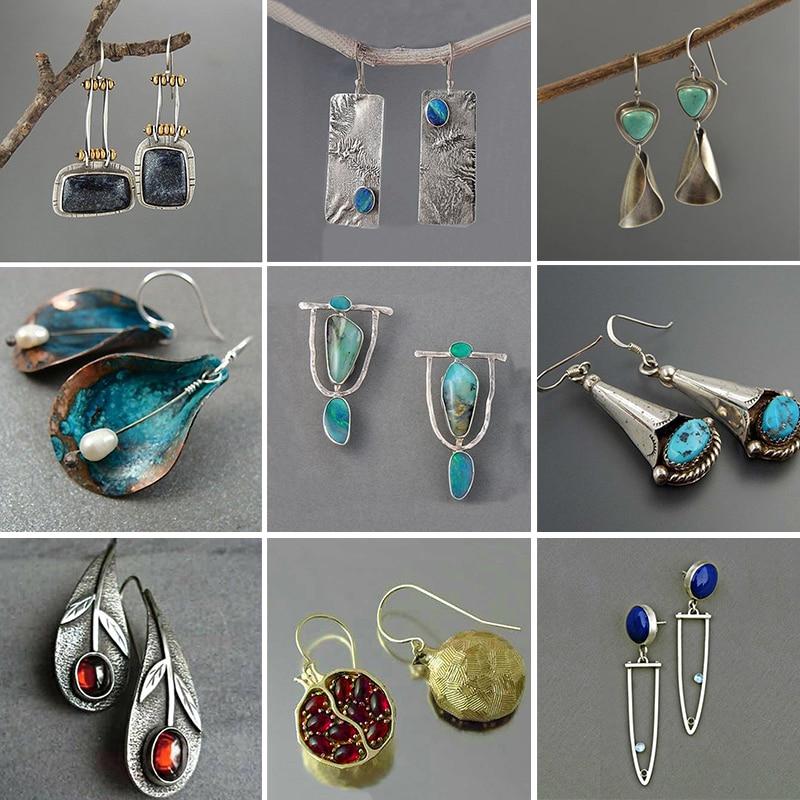 Vintage Indian Tribal Green Resin Dangle Earrings Bohemian Big Long Hollow Drop Earrings For Women 2019 Hippie Jewelry O5E680