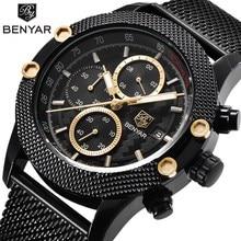 Benyar Men's Watches Black Men Quartz Watch Top Brand Luxury Waterproof Date Man Steel Sport Wrist Watch Men Clock Gold Saat все цены