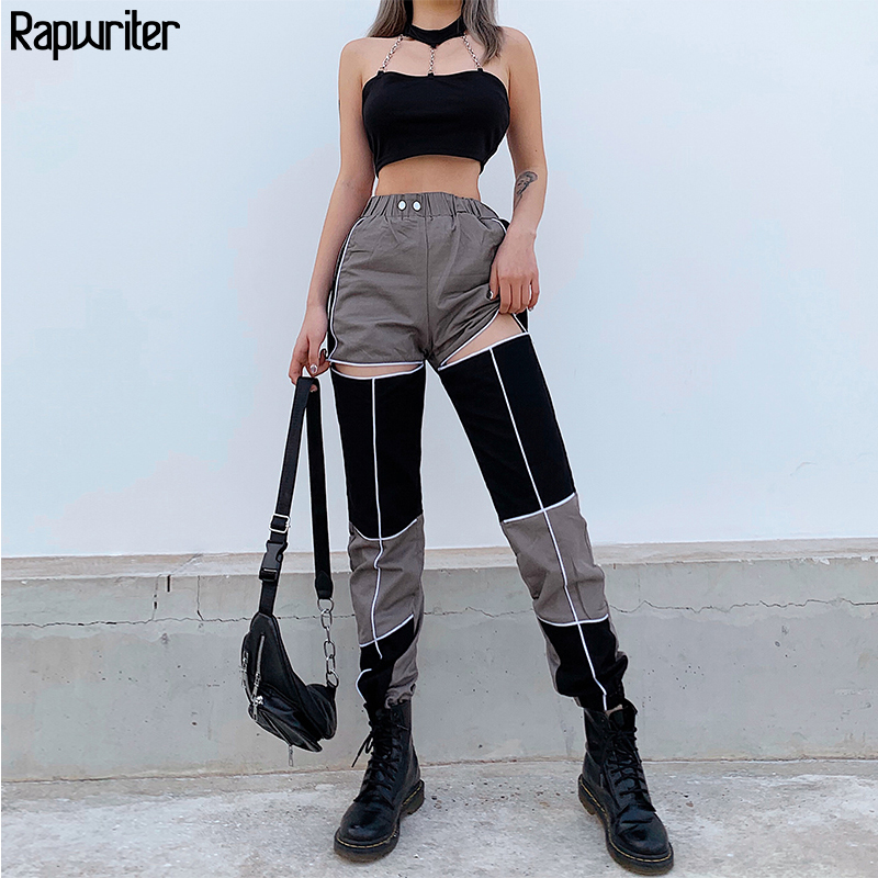 Rapwriter Skinny Hollow Out Panelled Patchwork Fashion Pants Women 2020 Capris Elastic High Waist Pants Women Jogger Sweatpants