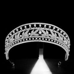 Luxury Cubic Zircon Crown Crystal Leaf Bridal Tiaras CZ Crowns Rhinestone Pageant Diadem Bride Headband Wedding Hair Accessories