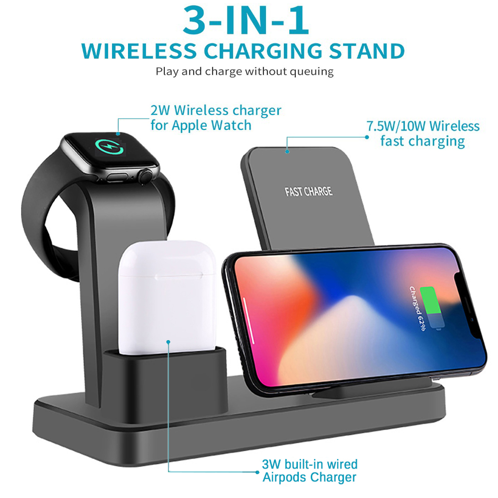 10W Qi Wireless Charger 3 in 1 Fast Charging for Apple Watch 1 2 3 4 Charge Dock Station for iPhone 8 XR XS Max AirPods Samsung in Mobile Phone Chargers from Cellphones Telecommunications