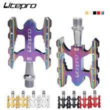 Litepro 초경량 접이식 자전거 페달 베어링 알루미늄 합금 미끄럼 방지 Brompton MTB 도로 자전거 BMX 범용 페달