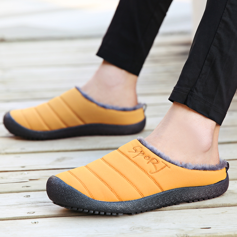 Winter Slippers Men's 2019 Indoor Down Warm Warm Couple Platform Shoes Plus Velvet Fluffy Casual Sneakers Shoes Large Size 36-48