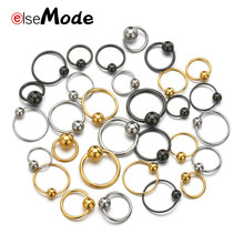 Elsemode 2 Stuks Rvs Bead Neus Ring Oor Hoop Nose Ring Oor Tragus Cartilalge Piercing Tepel Ring Body Vrouwen sieraden(China)