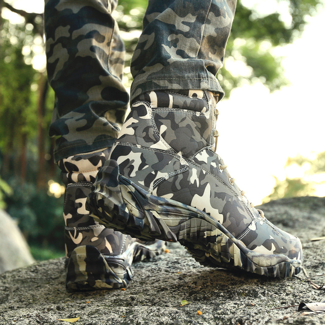 Men Military Tactical Boots Spring Waterproof Canvas Camo Camping Trekking Boot Man Climbing Outdoor Hiking Shoes 3