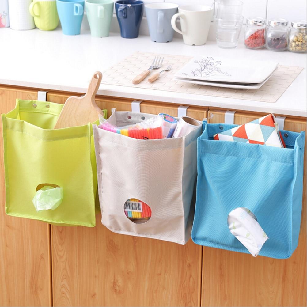 Oxford Multifunction Hanging Storage Bag Tupperbag For Garbage Pouch Gloves Sock Kitchen (White)