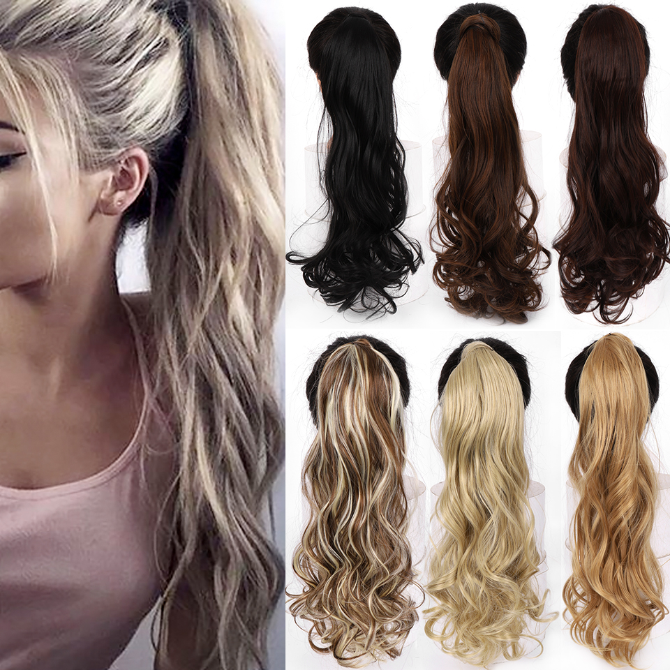 "WTB 22"" Long Wavy Wrap Around Clip In Ponytail Hair Extension Heat Resistant Synthetic Natural Wave Pony Tail Fake Hair"