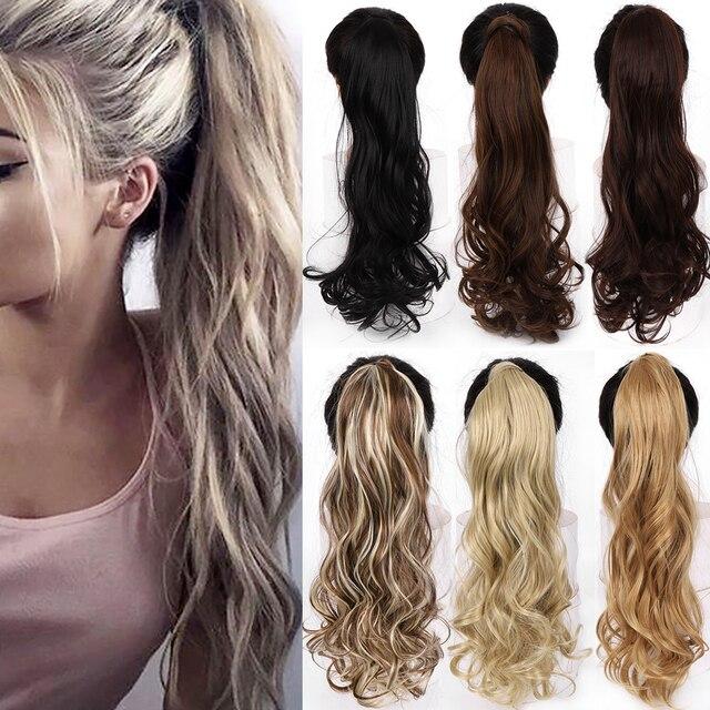 """WTB 22 """"długie faliste owinięcie wokół klipsa w włosy w koński ogon rozszerzenie żaroodporne syntetyczne naturalne fale koński ogon sztuczne włosy"""