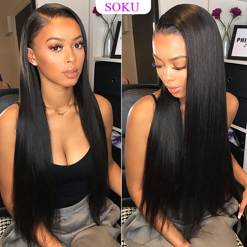 Brazilian Straight Lace Front Human Hair Wigs For Black Women 13x4 Lace Front Wig Pre Plucked With Baby Hair Remy Hair Wig SOKU