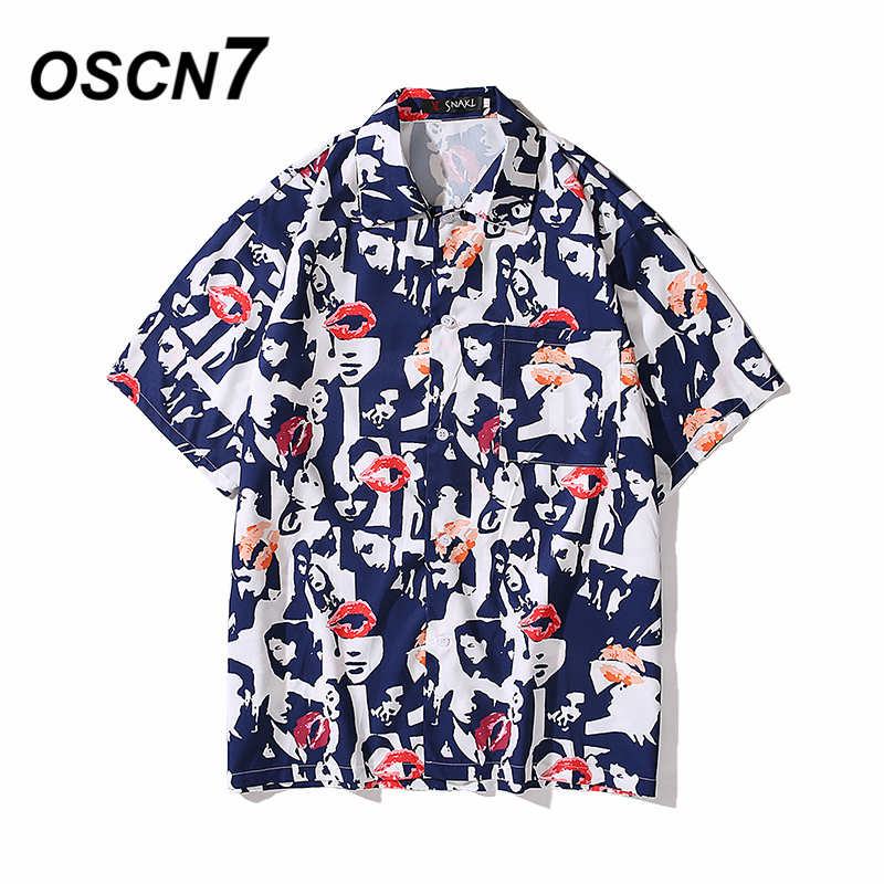 OSCN7 Casual Printed Short Sleeve Shirt Men Street 2020 Hawaii Beach Oversize Women Fashion Harujuku Shirts for Men 718