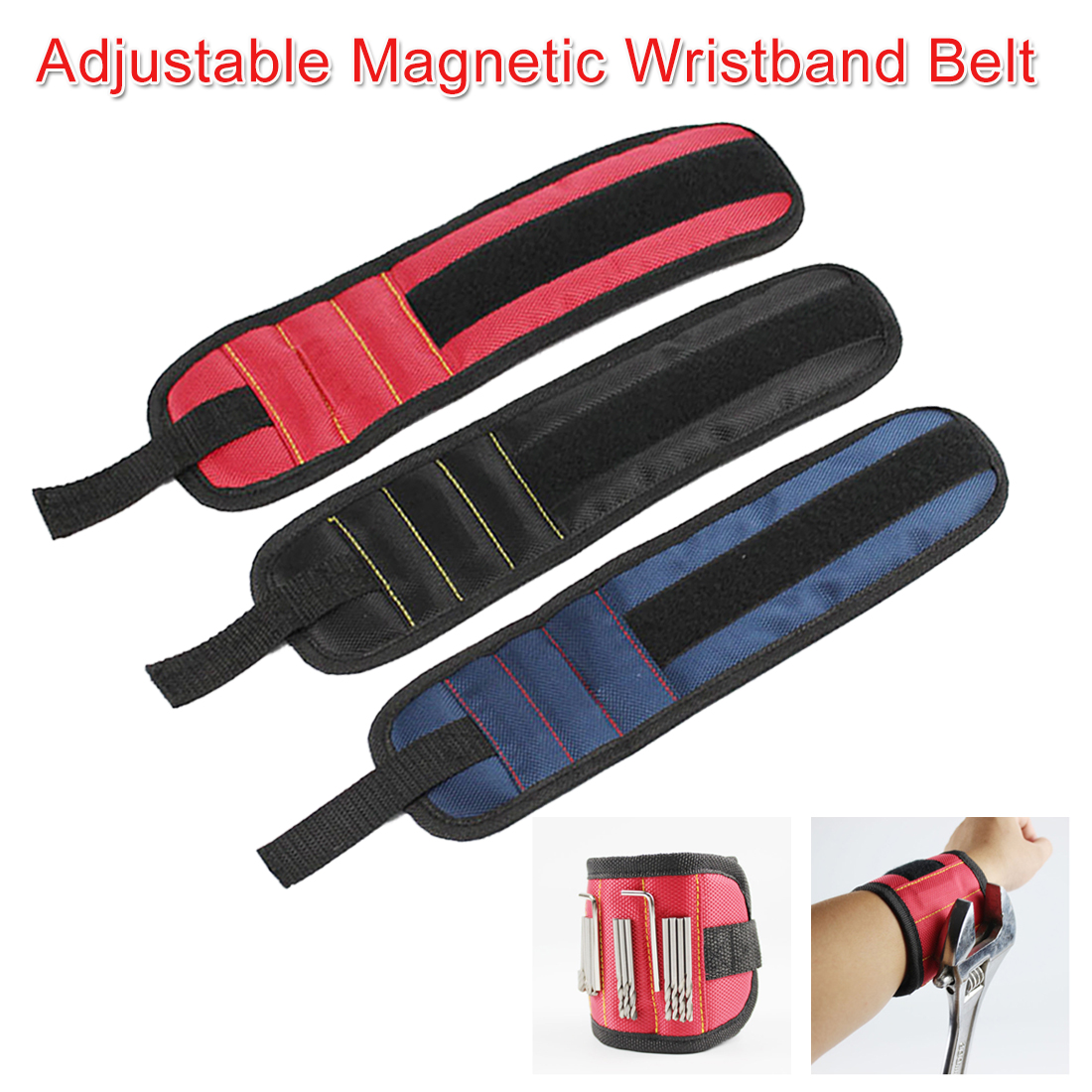 Magnetic Tool Wristband Portable Electrician Wrist Tool For Holding Screw Nails Drill Bits Wrench Hammer With 3 Magnet Home Tool