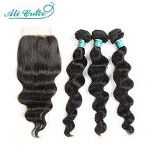Ali Grace saç brezilyalı gevşek dalga demetleri kapatma ile 100% Remy saç 3 demetleri 4x4 dantel kapatma ile orta ve ücretsiz bölüm