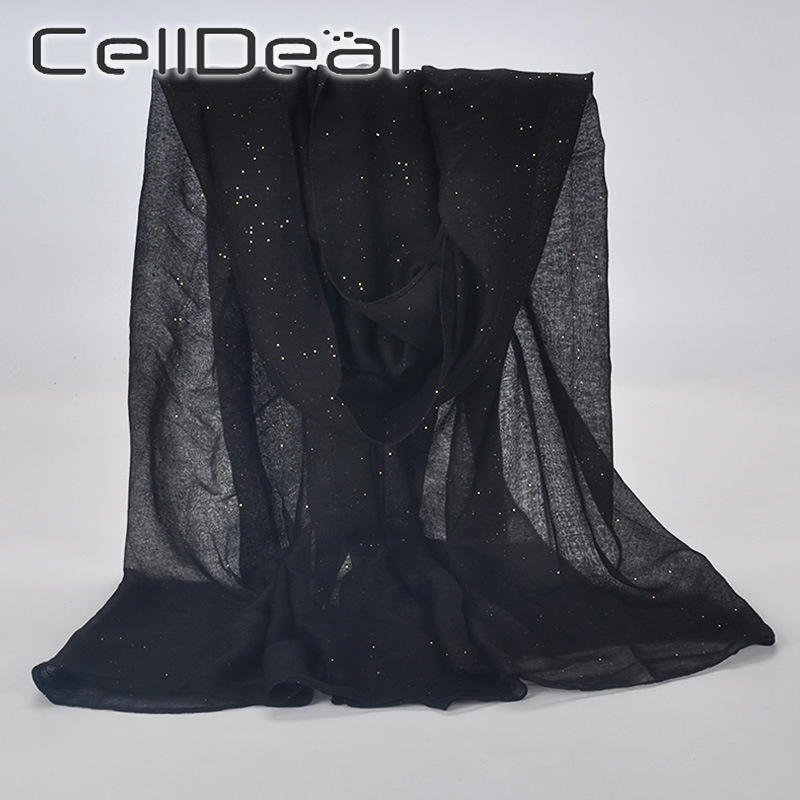 1 Pcs Women's Fashion Sequins Solid Color Cotton Yarn Glitter Scarf Monochrome Sequins Sunscreen Scarf Headwrap Cover Veil Shawl