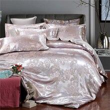 4Pcs Set Luxurious Duvet Cover Rich Silky Woven European Jacquard Breathable Fade Resistant Bedding Wedding Silk Quilt  D20