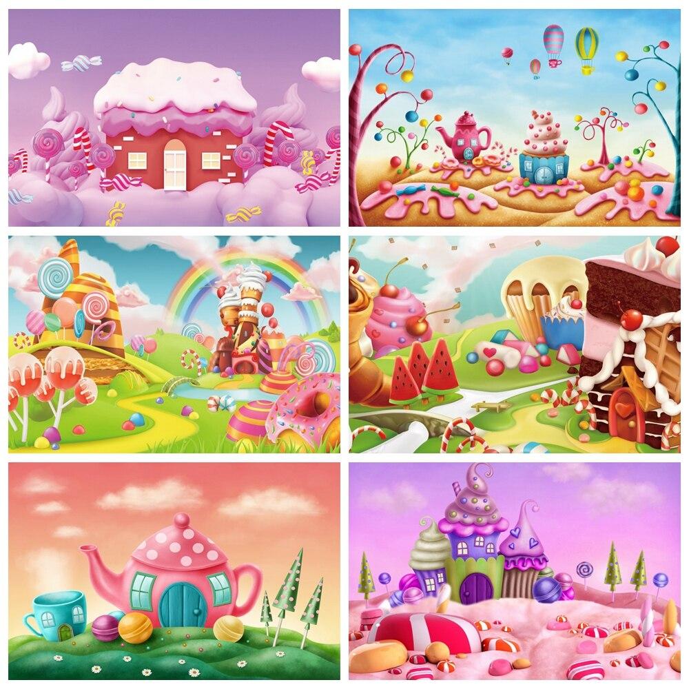 Laeacco aniversário chá de fraldas recém-nascidos crianças backdrops doces donut lollipop sorvete arco-íris nuvens fotografia fundos