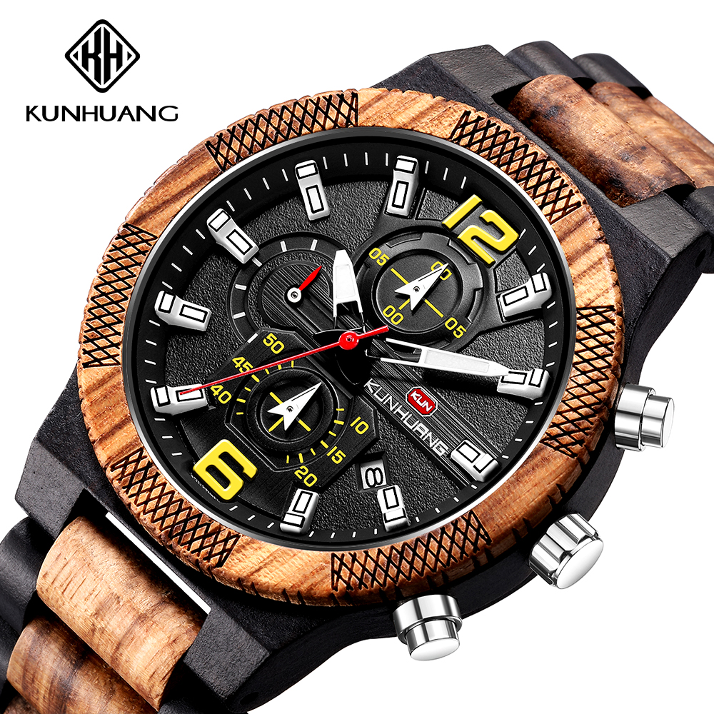 The Mens' Watches  Watch For Man Chronograph Wood Watchzegarek Meski Reloj Hombre Complete Calendar 2020 Hot Selling Wood Clocks