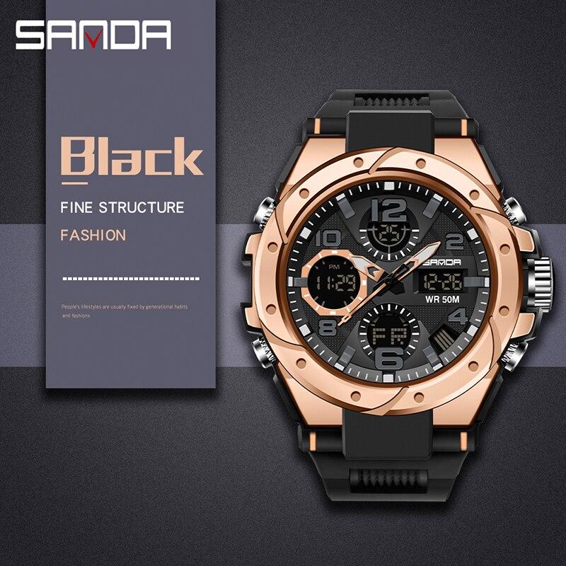 Sport hommes montre haut de gamme numérique pointeur horloge antichoc chronomètre rapport montres 50M étanche hommes montre SANDA heures temps 4