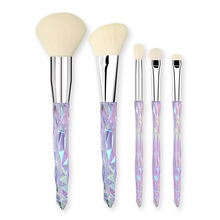 5Pcs Easy Clean Synthetic Fiber Accessories Girl Home Use Cosmetic Blush Practical Crystal Handle Makeup Brush Set Eye Shadow