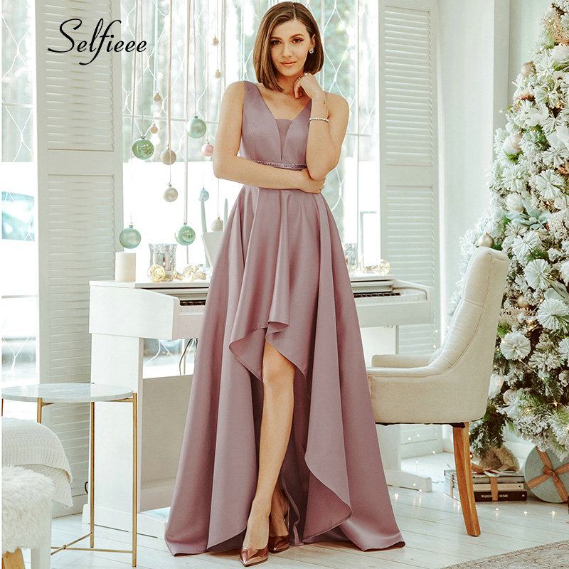 Sexy Satin Women Dress Asymmetrical Double V-Neck Sequined Sparkle Maxi Dress New Fashion Ladies Party Dress Ropa Mujer 2020