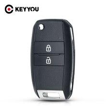KEYYOU For Kia Sorento Carens 2 Buttons Remote Key Shell Case Fob Cover New Keyless Entry Flip Folding HY18R