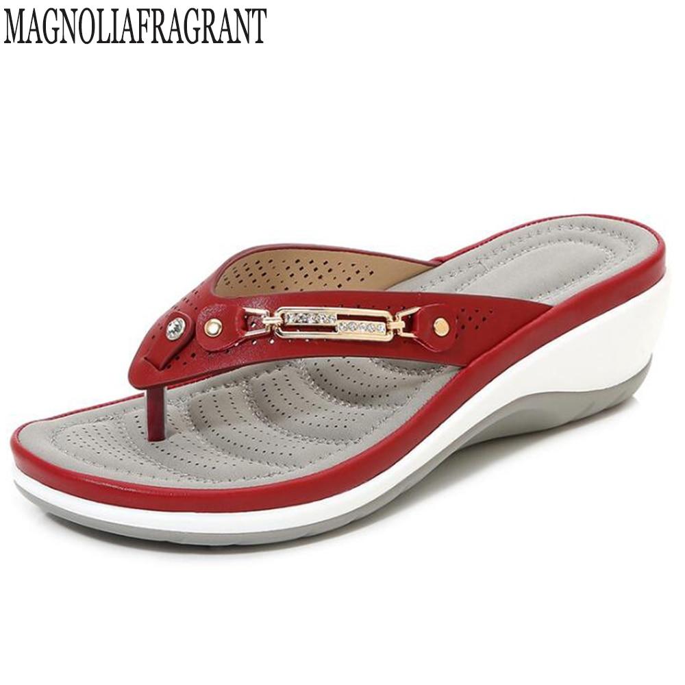 2020 New Summer Women Slippers Metal Button Slides Shoes Wedge Beach Sandals Women Outside Platform Leisure Flip Flop Hy363