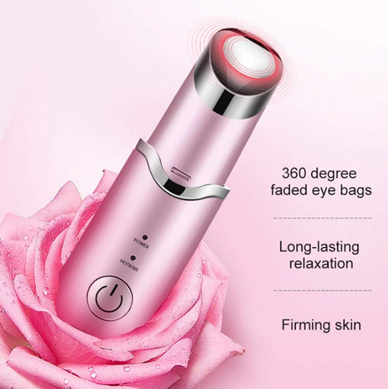 Mini Beauty Electric Heating Ion Eye Massage Stick Usb Rechargeable Facial Massager Black Circle Wrinkle Care Machine