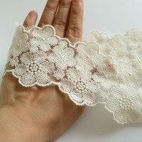 Cinta de encaje bordado de flores grandes, apliques de 6,8 cm de ancho, adorno de encaje de algodón blanco, accesorios de ropa DIY, 2 yardas
