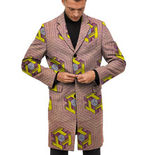 Custom Tailored  Long Blazers For Men Retro Abstract African Print Suit Jackets Ghana Style Wedding Party Wear