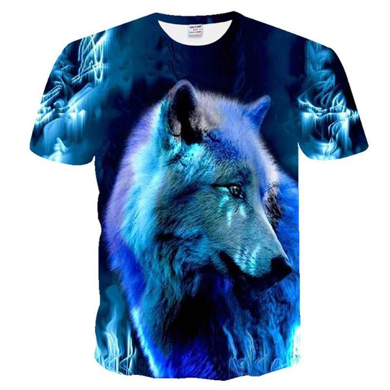 여름 새 남성 티셔츠 브랜드 짧은 소매 맞춤형 3D 스타 스카이 캐노피 형광 늑대 참신 티셔츠 멋진 남성 티셔츠