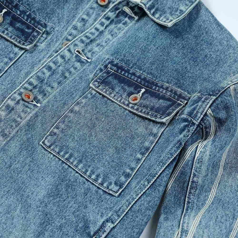 Simwood 2020 nova primavera denim jaquetas homens duplo bolso listrado vertical 100% algodão voltar denim tarefa casacos streetwear 1903561