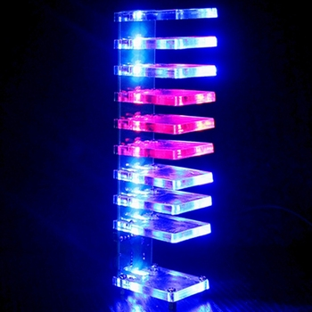 DIY VU Meter 10 Level Column Light LED Professional Electronic Crystal Sound Control Music Spectrum for Home Theater sound control electronic crystal column making light of cubic led diy producing sound music spectrum parts kit