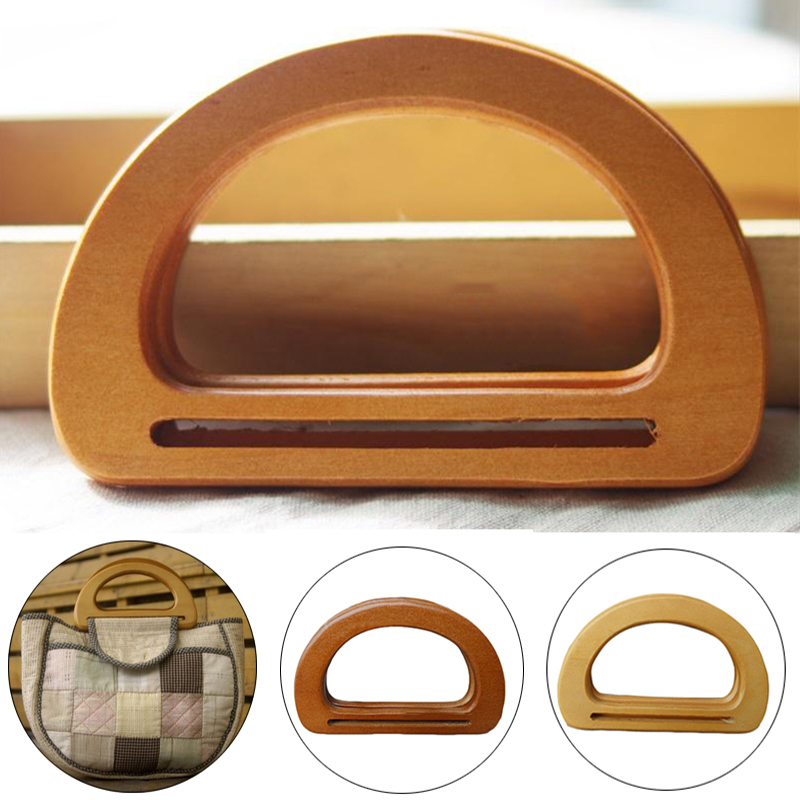 1 Pc Nature Wooden Rattan Bag Handle Replacement For DIY Making Purse Handbag Tote Round Rectangle Shaped Simple Bag Accessories