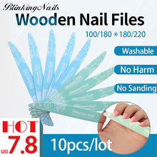 BlinkingNails 10pcs Professional Nail File 100/180 Wood 180 240 for Pedicure Sanding Files 180/220 Green/Blue