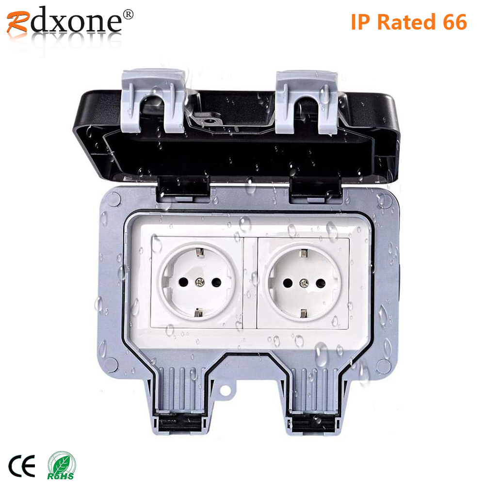 Rdxone  IP66 Waterproof Outlet 16A Wall Power Socket for Garden      Garage