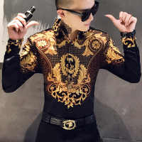 Luxury Gold Print Shirt Men Royal Retro Long Sleeve Shirts Party NightClub Tuxedo Shirts Casual Slim Fit Streetwear Blouse Homme