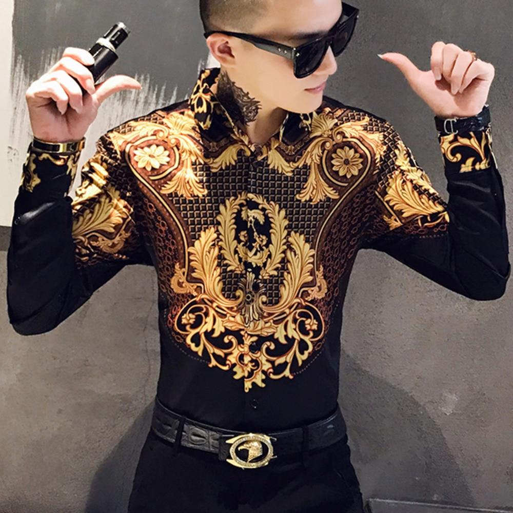 Luxury Gold Print Shirt Men Royal Retro Long Sleeve Shirts Party NightClub Tuxedo Shirts Casual Slim Fit Streetwear Blouse Homme