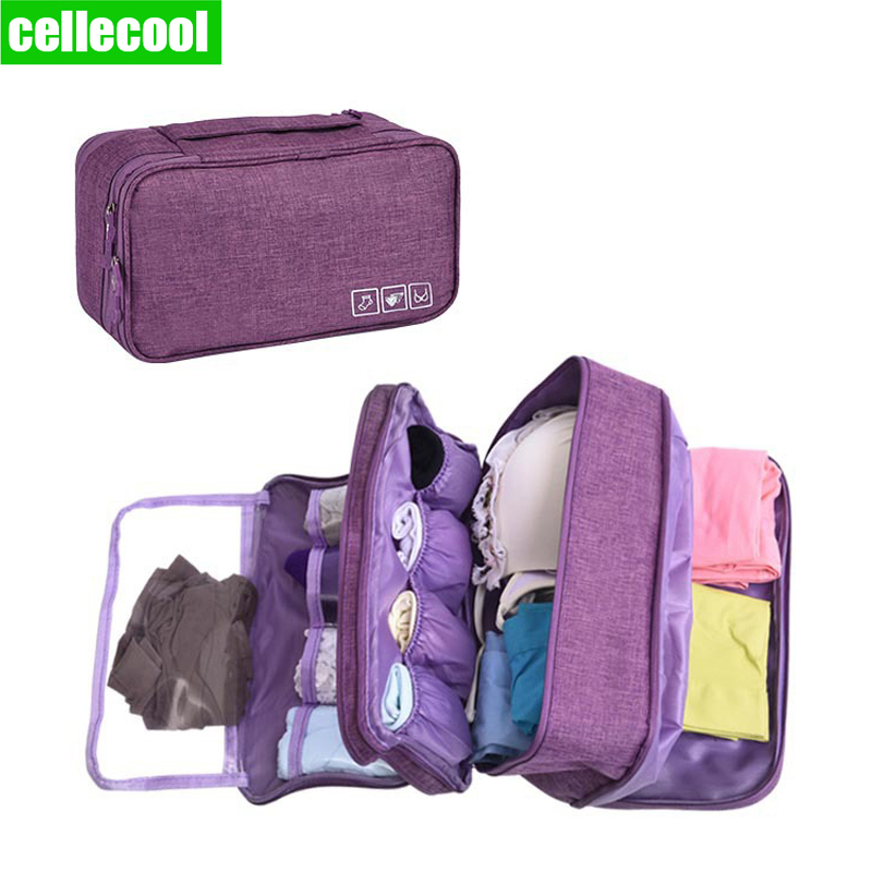 Cellecol Portable Travel Compartment Wash Cosmetic Clothes Organizer Fashion Bra Storage Cases Accessories Women Underwear Bags