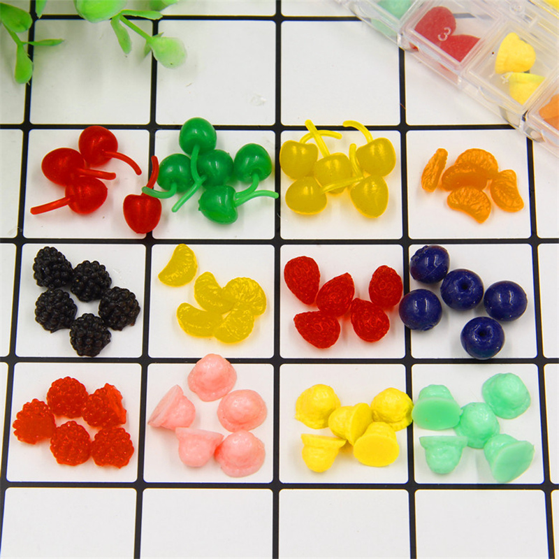 20pcs Cute Miniature Fruit Toys Artificial Simulation Cherry For Dollhuose Accessories Kitchen Play Toys