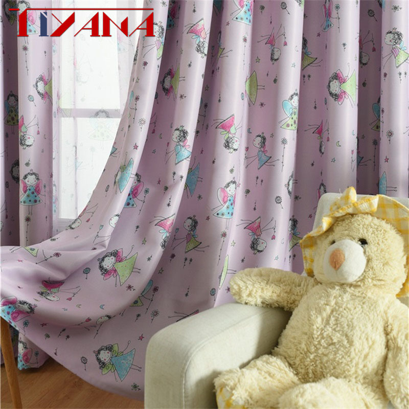 Purple Curtain For Living Room Children Bedroom Cartoon Girls Printed Voile Curtain Kids Curtains Cloth Tulle Cortinas T177#4